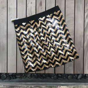 Michael Kors | Gold/Black Sequin Zip Up Mini Skirt